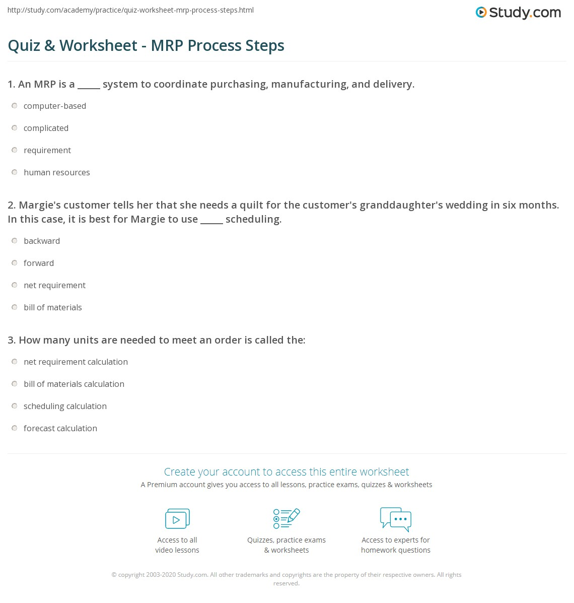 Print Steps In The Material Requirements Planning Process Worksheet
