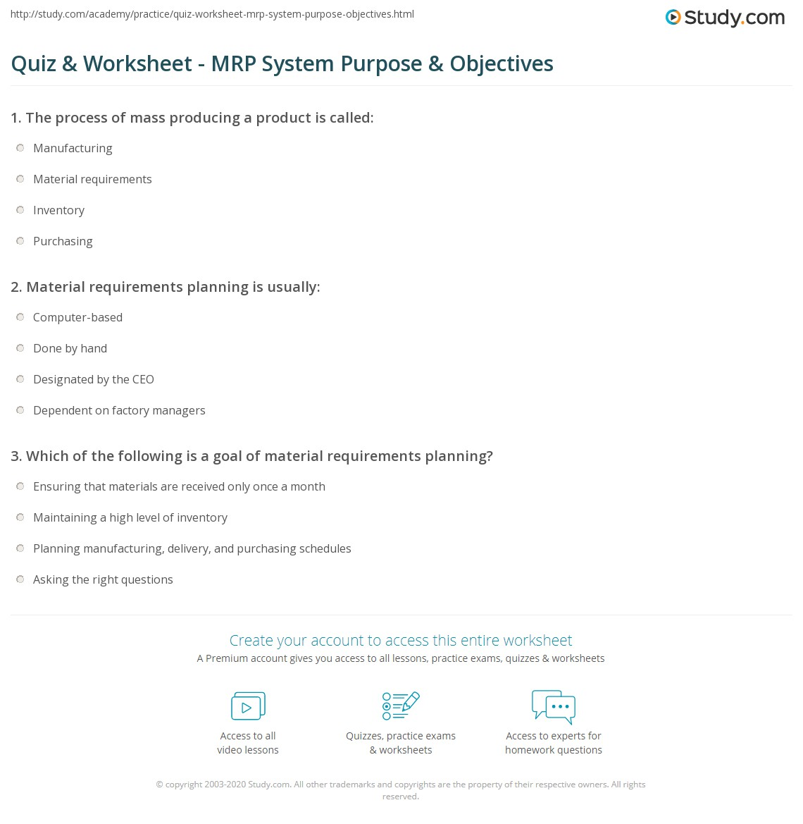 Quiz & Worksheet - MRP System Purpose & Objectives | Study.com