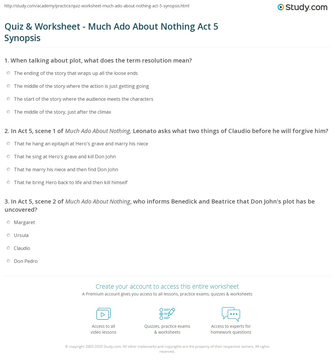 quiz worksheet much ado about nothing act synopsis com print much ado about nothing act 5 summary worksheet