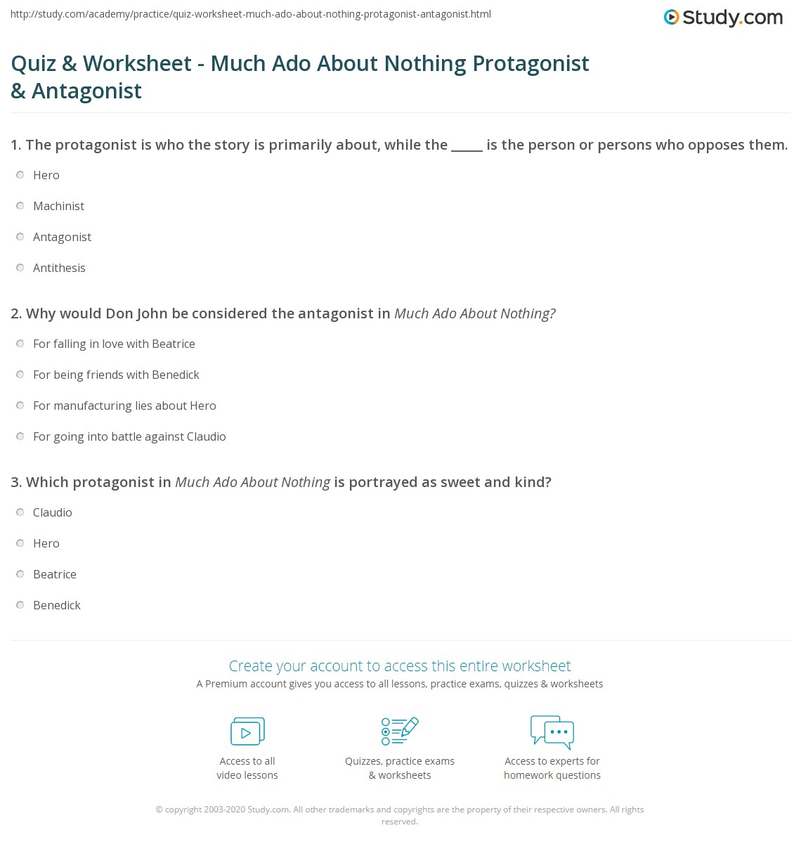 quiz worksheet much ado about nothing protagonist antagonist. Black Bedroom Furniture Sets. Home Design Ideas