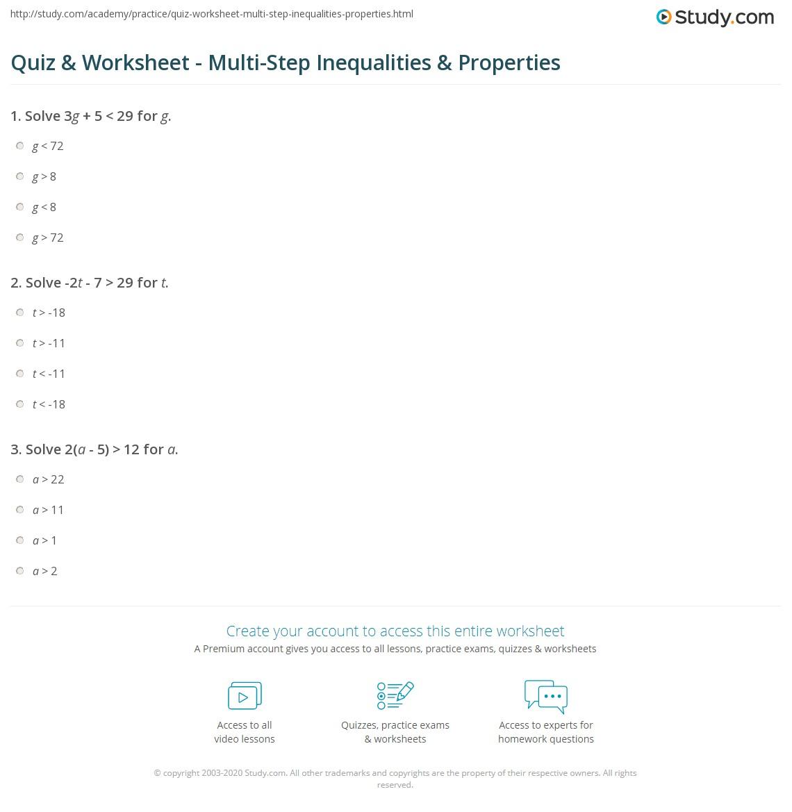 Quiz Worksheet Multi Step Inequalities Properties Study