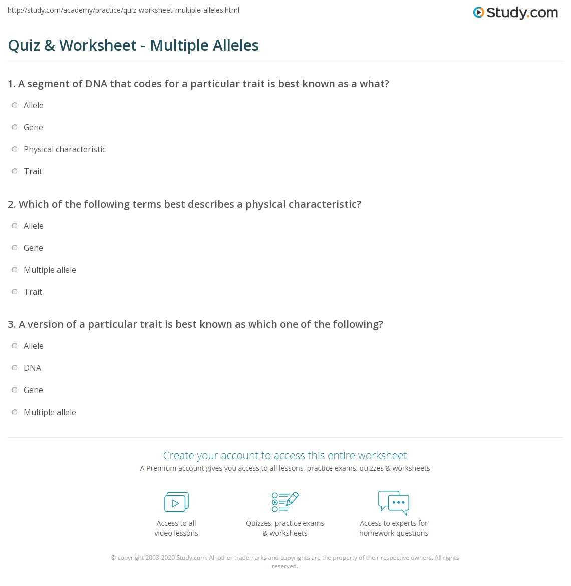 Quiz Worksheet Multiple Alleles Study
