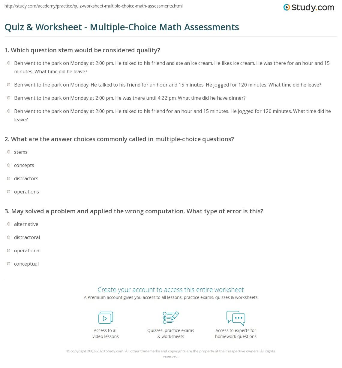 quiz worksheet multiple choice math assessments. Black Bedroom Furniture Sets. Home Design Ideas