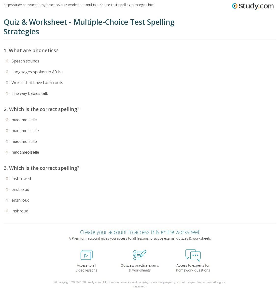 Quiz & Worksheet - Multiple-Choice Test Spelling Strategies ...