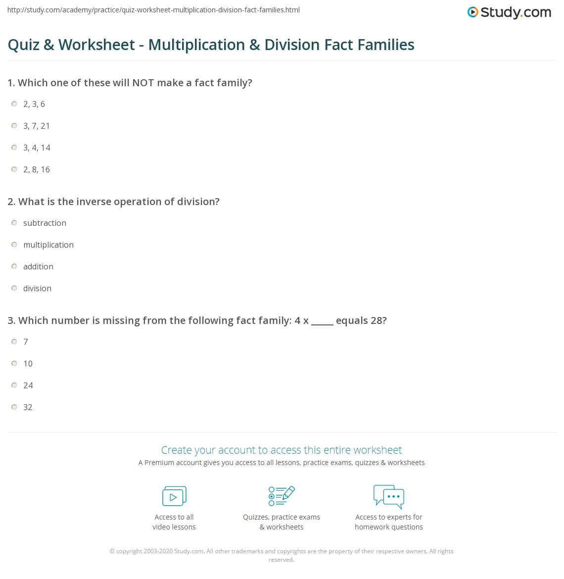Quiz Worksheet Multiplication Division Fact Families Study