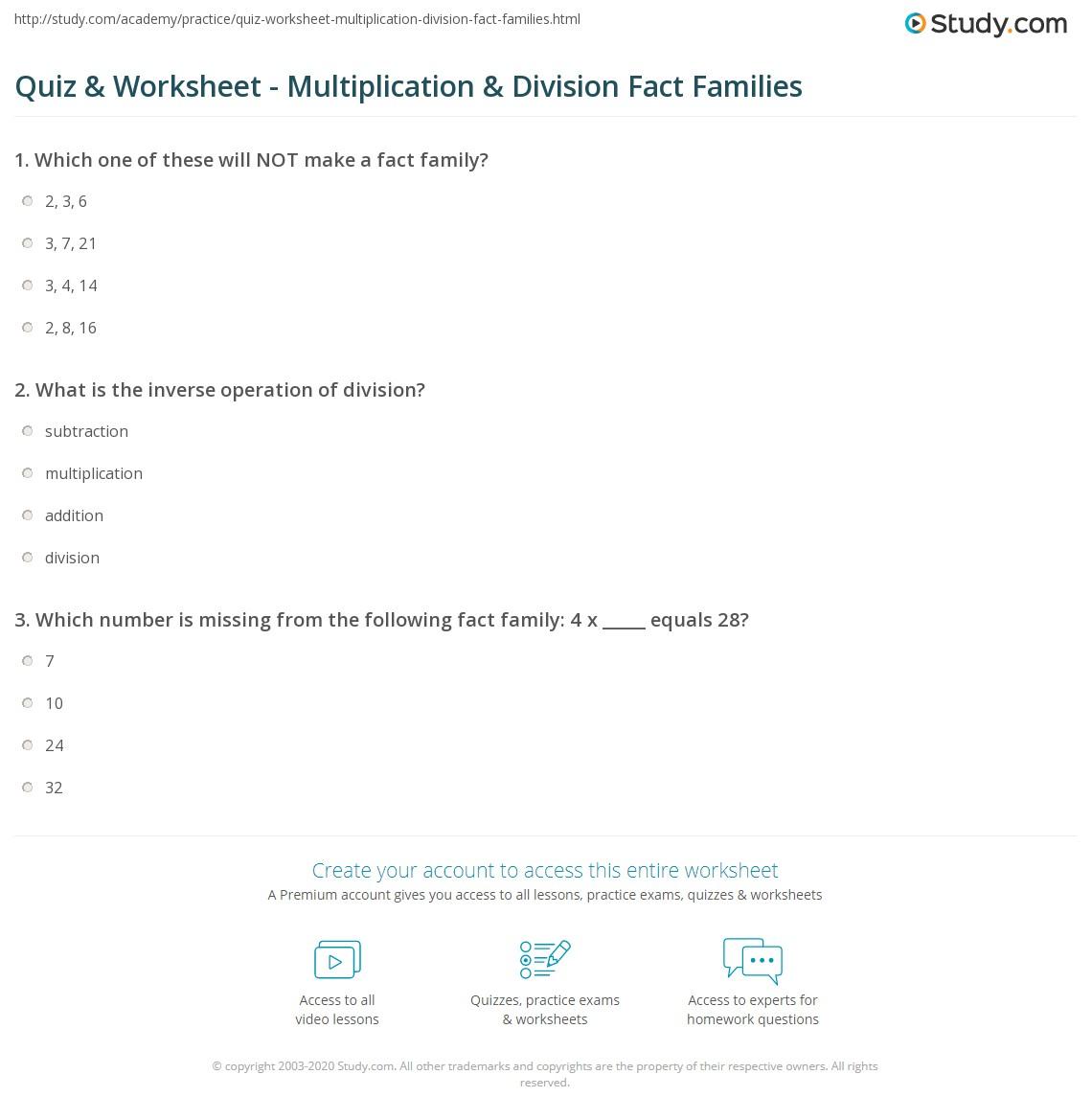 quiz  worksheet  multiplication  division fact families  studycom print multiplication  division fact families worksheet