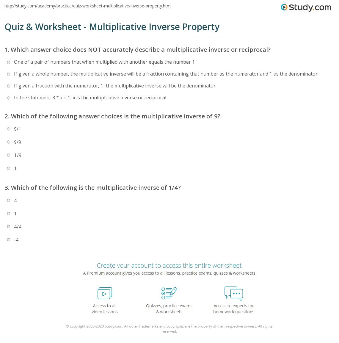 Quiz Worksheet Multiplicative Inverse Property Study