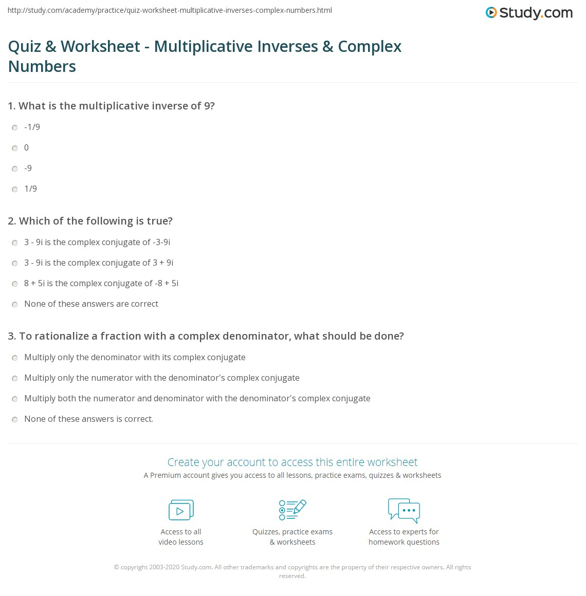 worksheet Properties Of Complex Numbers Worksheet quiz worksheet multiplicative inverses complex numbers study com print inverse of a number worksheet