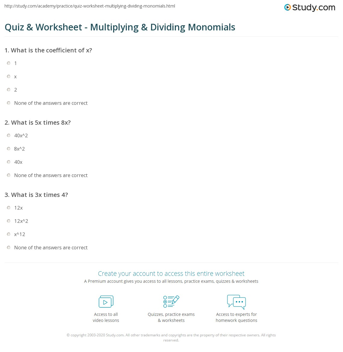 Quiz & Worksheet - Multiplying & Dividing Monomials | Study.com
