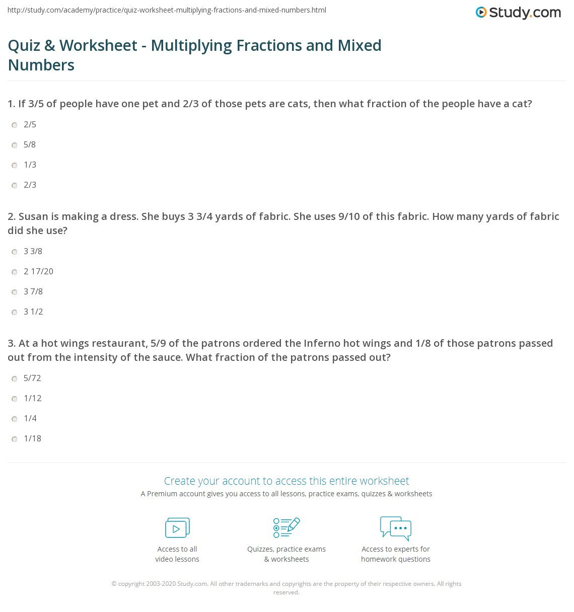quiz & worksheet - multiplying fractions and mixed numbers | study