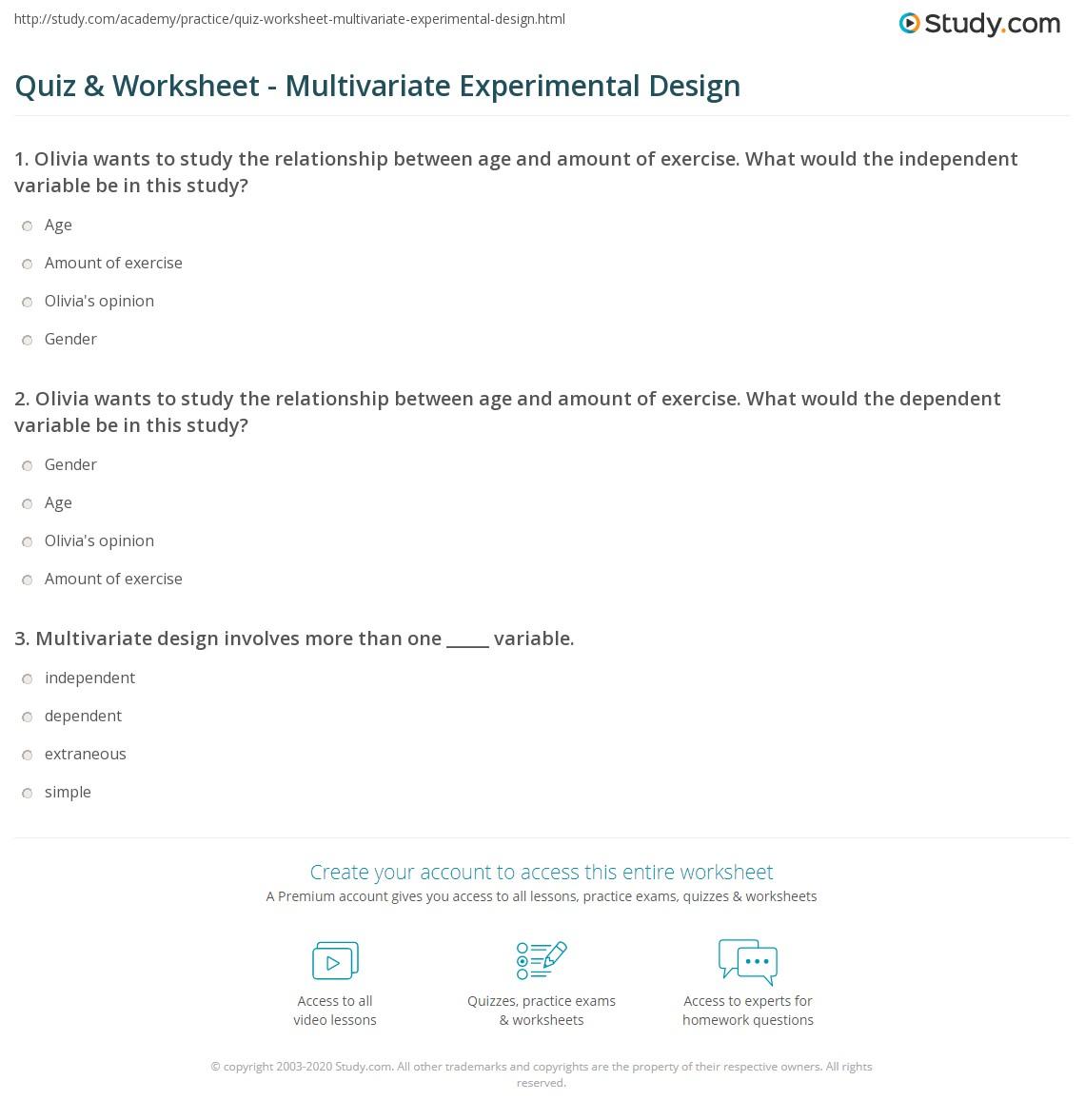 Science Experimental Design Worksheet: Multivariate Experimental Design