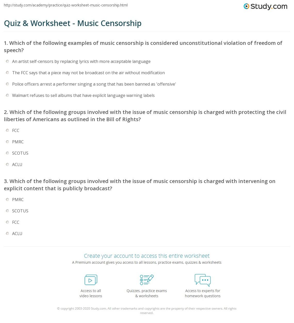 Quiz Worksheet Music Censorship Study