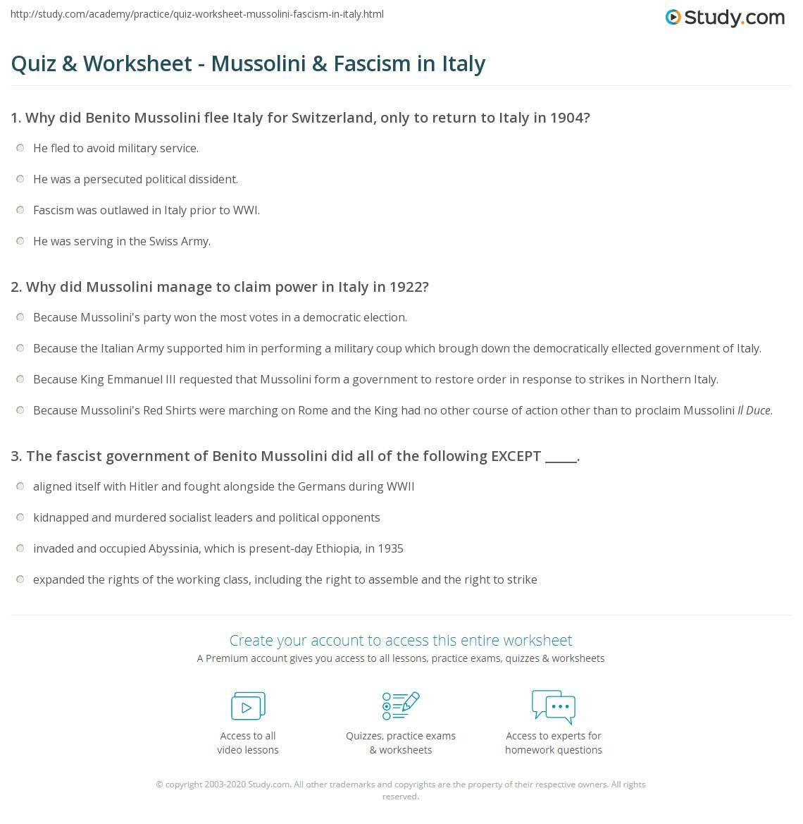 Quiz Worksheet Mussolini Fascism In Italy Study Com