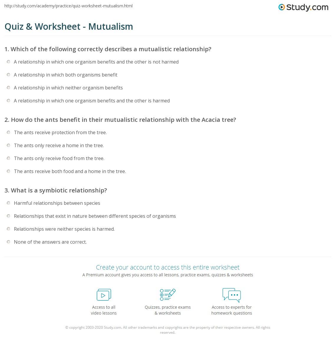 Quiz Worksheet Mutualism Study Com