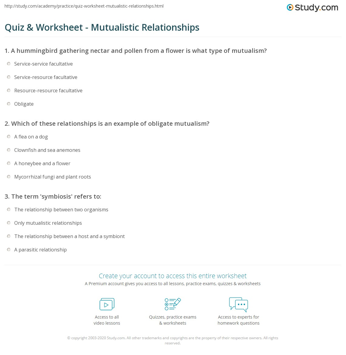 Quiz Worksheet Mutualistic Relationships Study Com