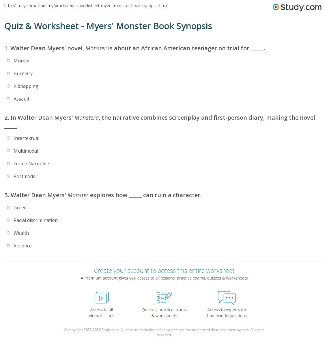quiz worksheet myers monster book synopsis com print monster by walter dean myers summary worksheet
