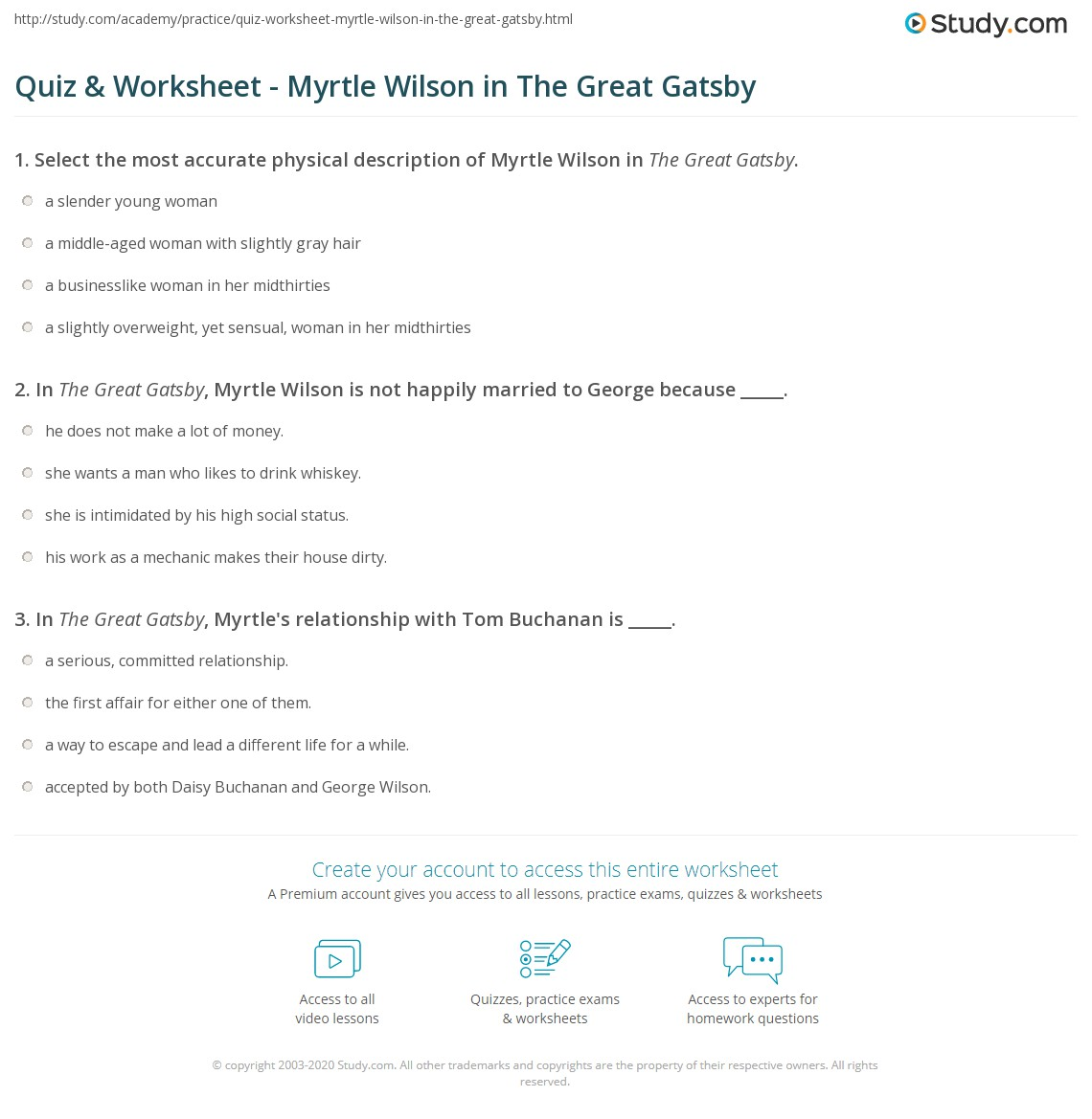 Quiz Worksheet Myrtle Wilson In The Great Gatsby Studycom