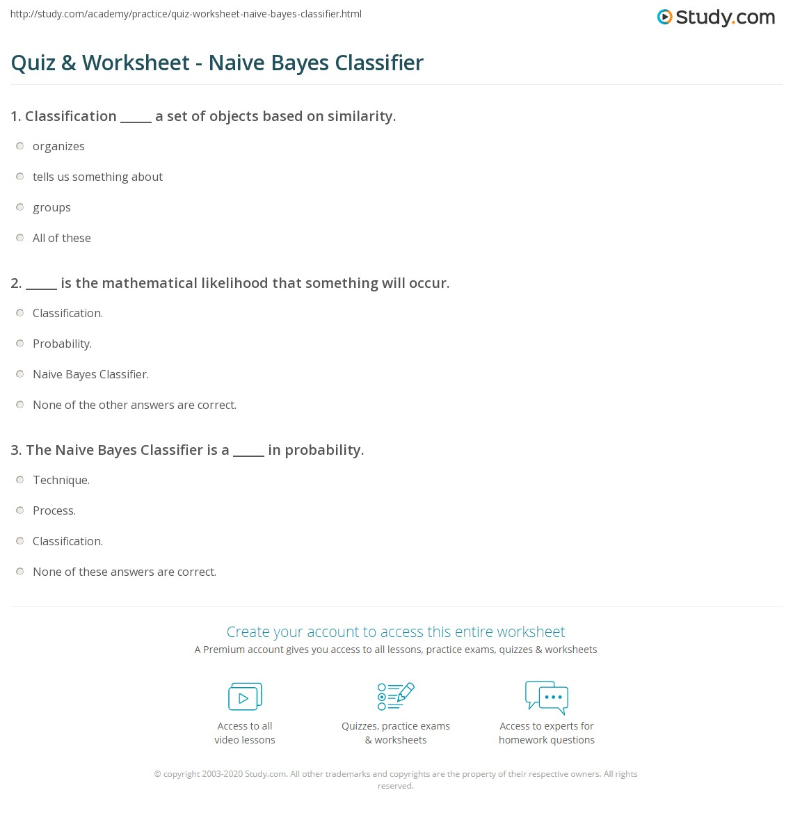 Quiz Worksheet Naive Bayes Classifier Study