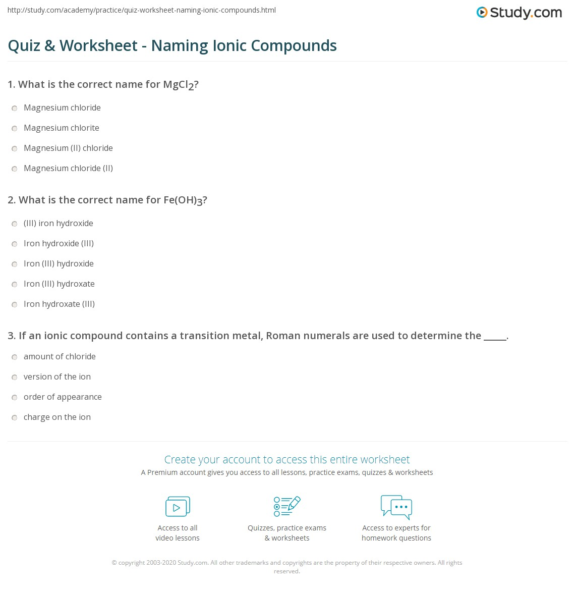 Quiz & Worksheet - Naming Ionic Compounds | Study.com