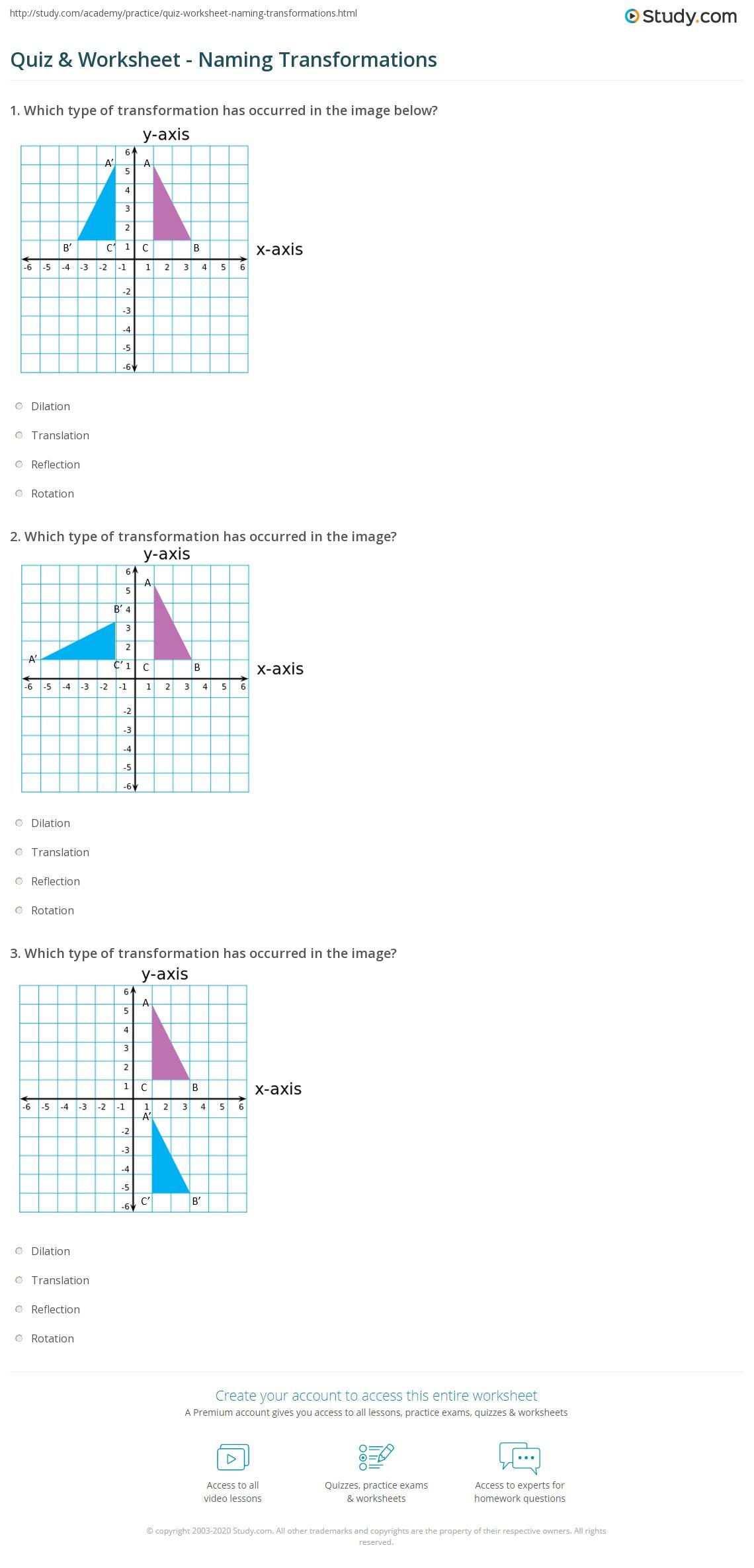 Quiz Worksheet Naming Transformations – Compositions of Transformations Worksheet