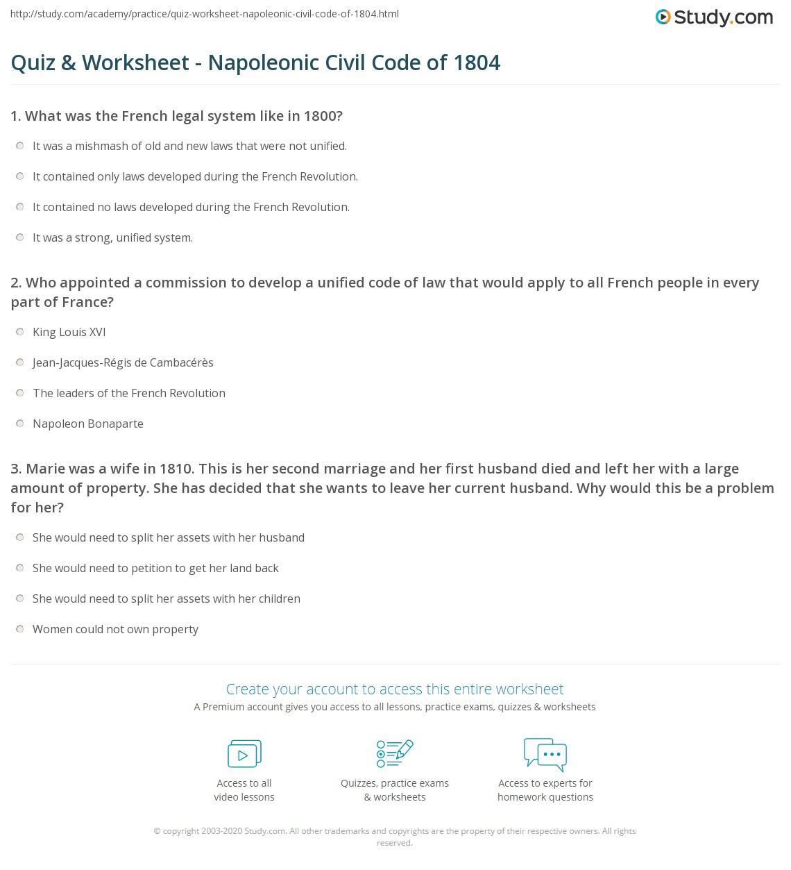 quiz worksheet napoleonic civil code of 1804. Black Bedroom Furniture Sets. Home Design Ideas