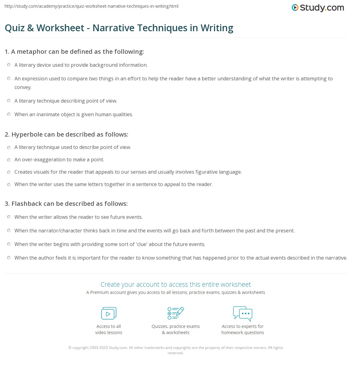 Worksheets Persuasive Techniques Worksheets quiz worksheet narrative techniques in writing study com print definition types examples worksheet