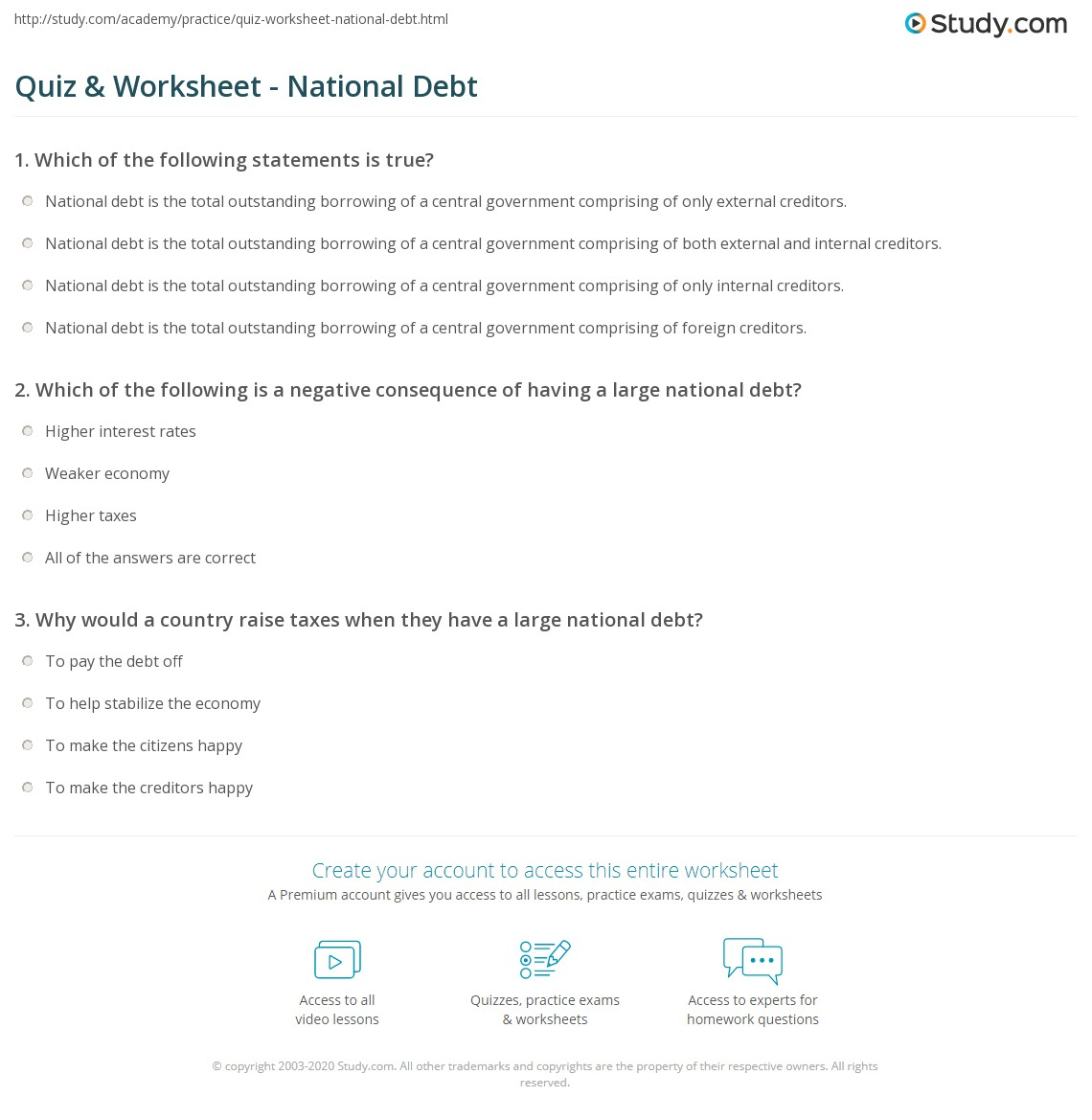 quiz & worksheet - national debt | study