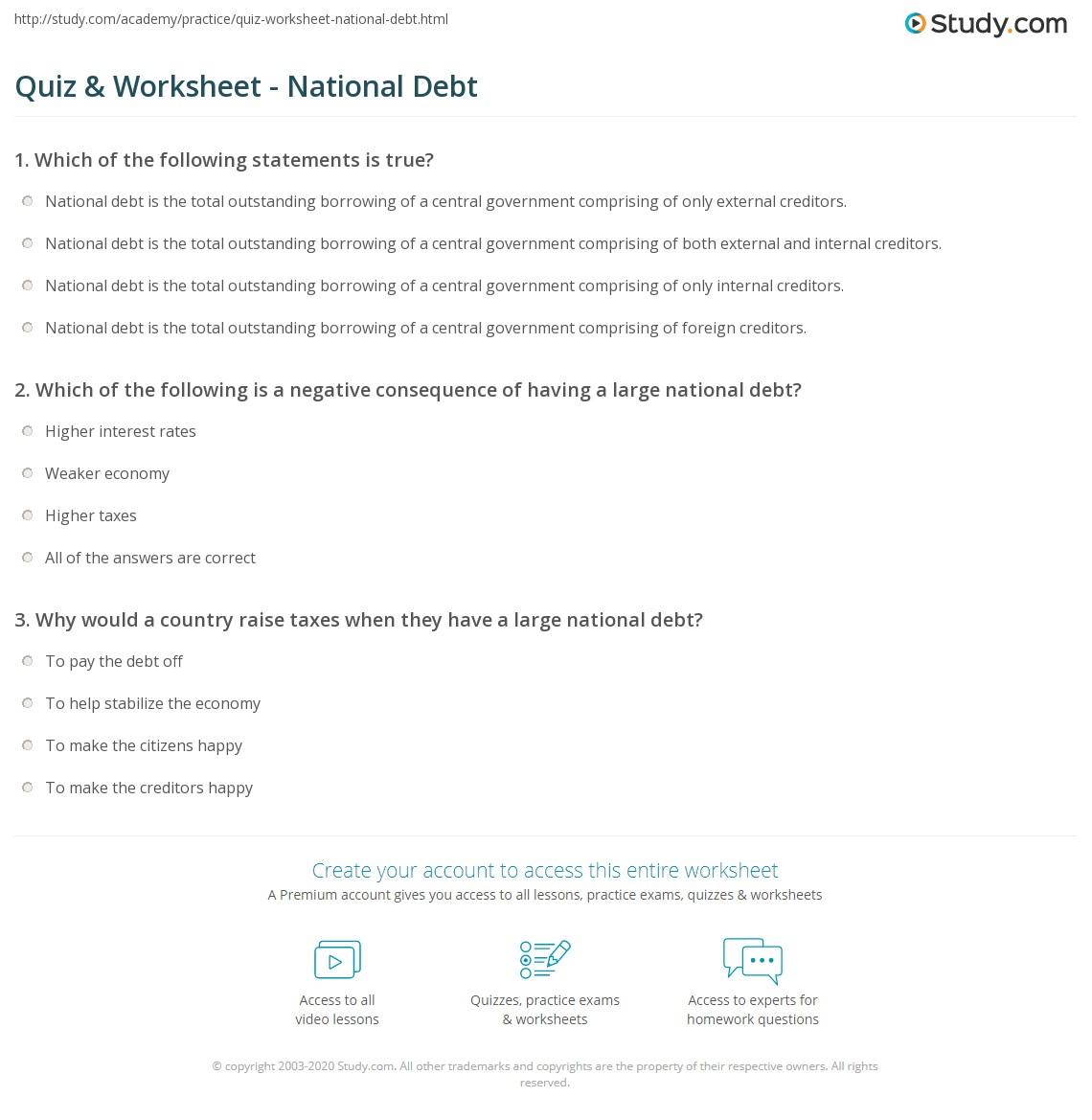 Quiz Worksheet National Debt – Debt Worksheet