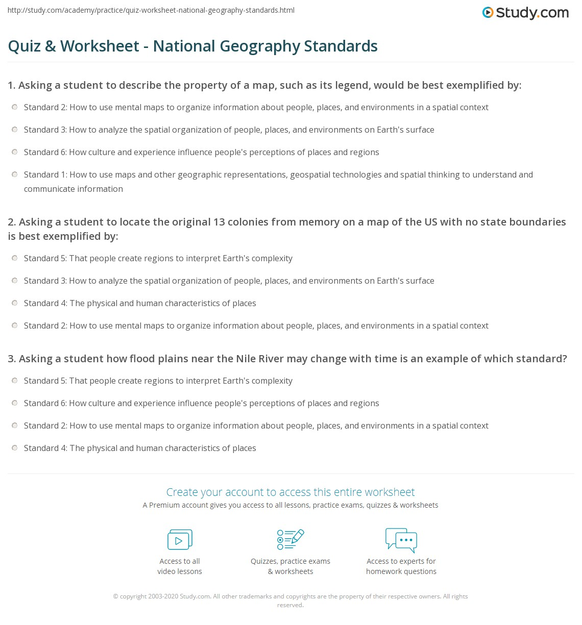 Quiz worksheet national geography standards study print national geography standards 1 6 the world in spatial terms places and regions worksheet gumiabroncs Images