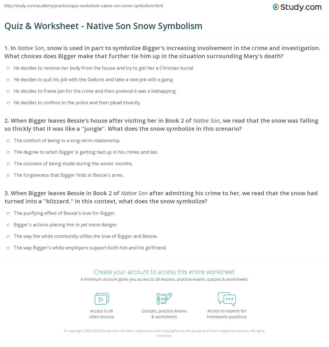 Quiz Worksheet Native Son Snow Symbolism Study