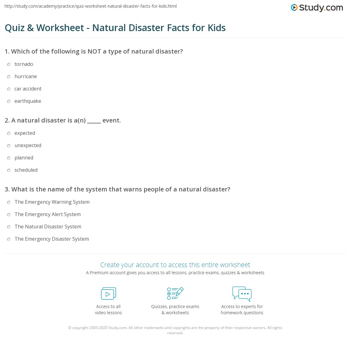 Quiz Worksheet Natural Disaster Facts for Kids – Natural Disasters Worksheets