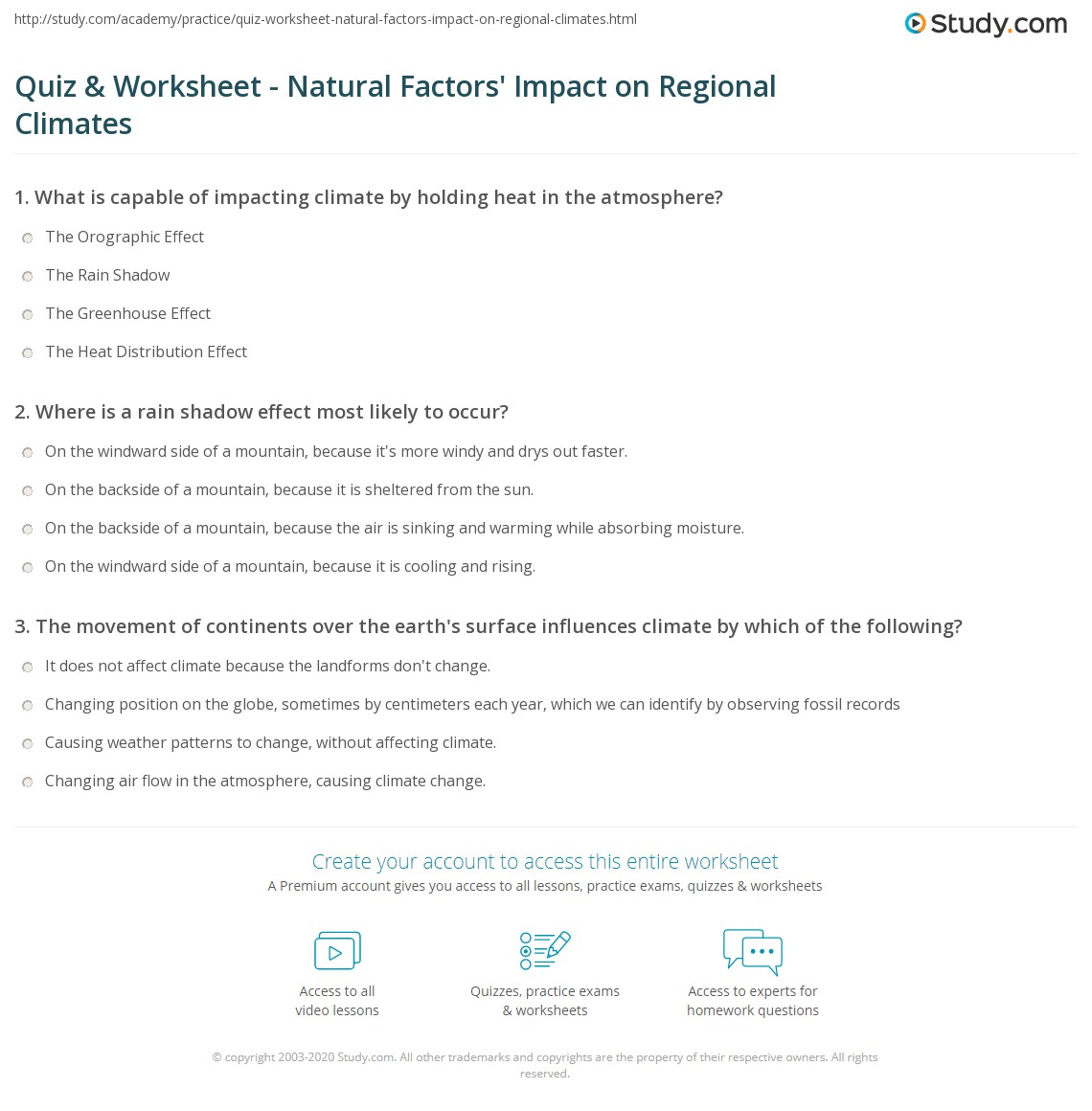 Worksheets Factors Affecting Climate Worksheet quiz worksheet natural factors impact on regional climates print that determine a regions climate worksheet