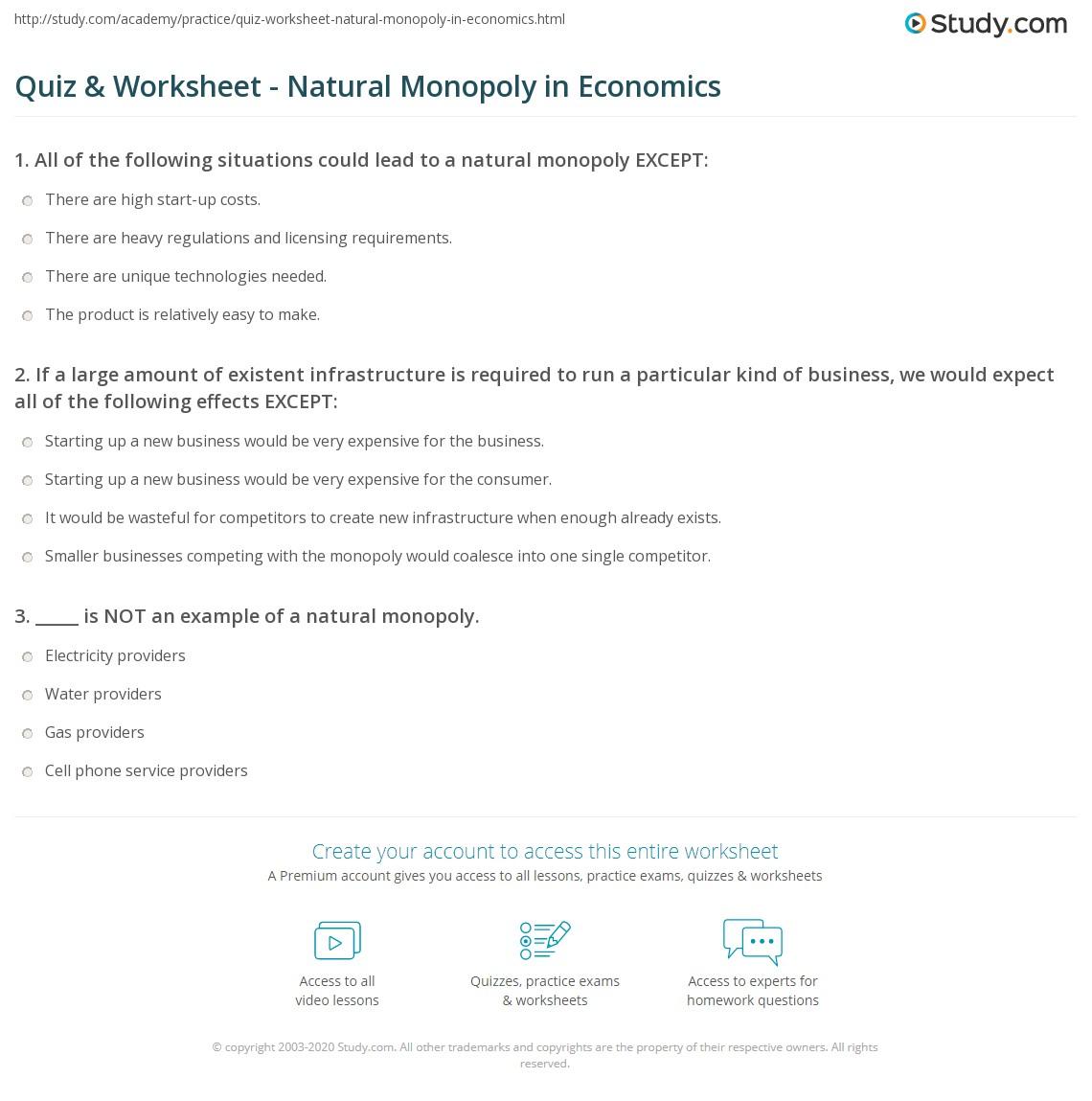 Quiz Worksheet Natural Monopoly In Economics Study