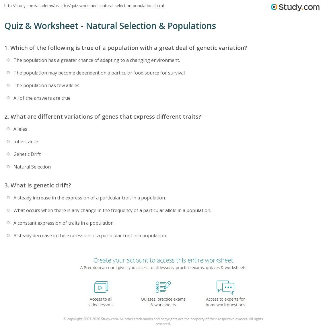 quiz worksheet natural selection populations. Black Bedroom Furniture Sets. Home Design Ideas