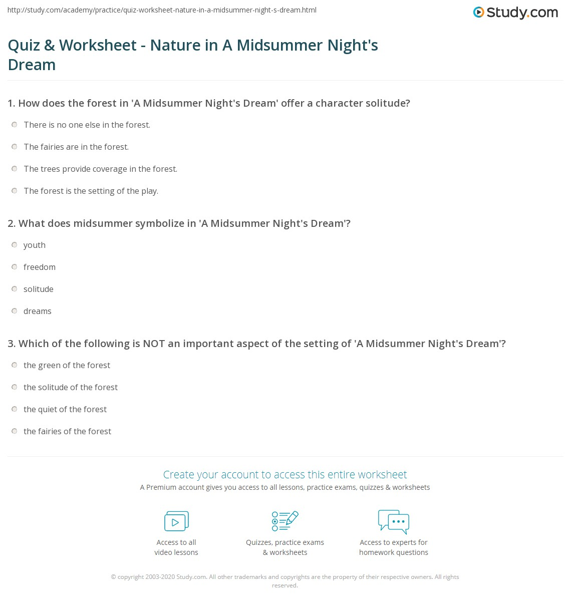 Quiz Worksheet Nature In A Midsummer Night S Dream Study Com