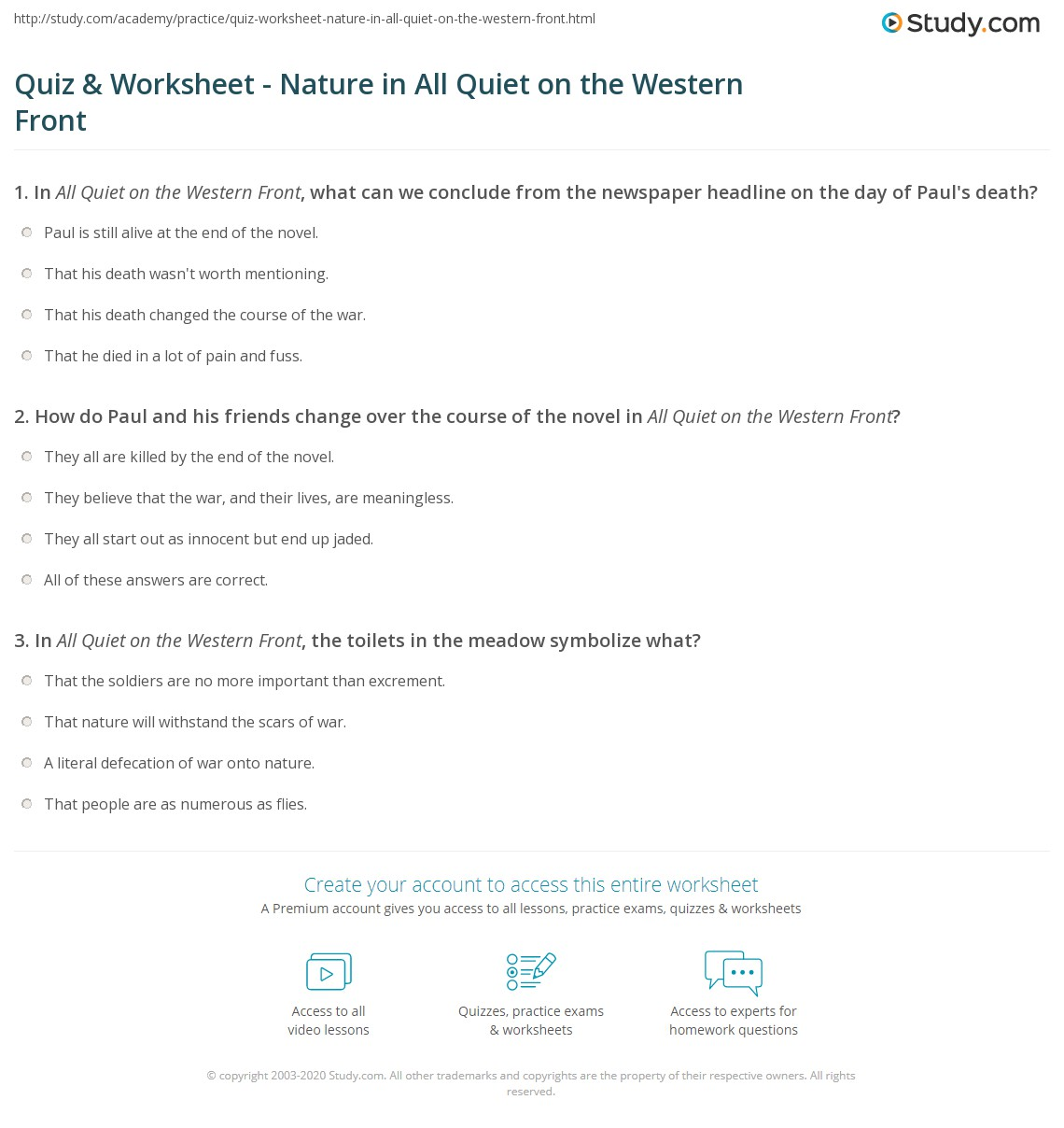 Quiz Worksheet Nature In All Quiet On The Western Front Study