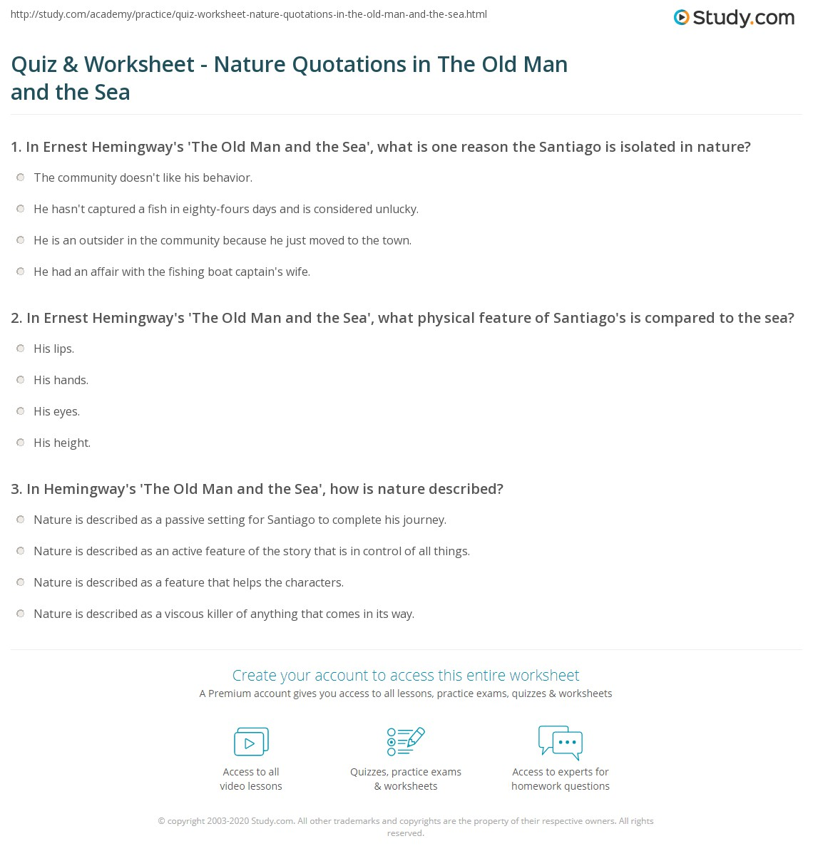 Quiz Worksheet Nature Quotations In The Old Man And The Sea