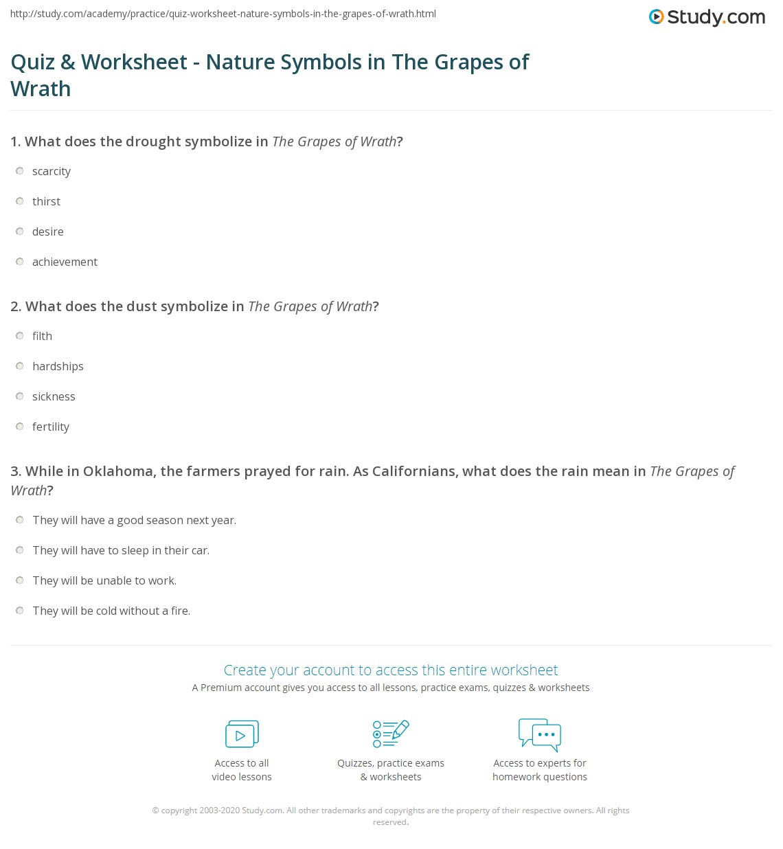 Quiz Worksheet Nature Symbols In The Grapes Of Wrath Study
