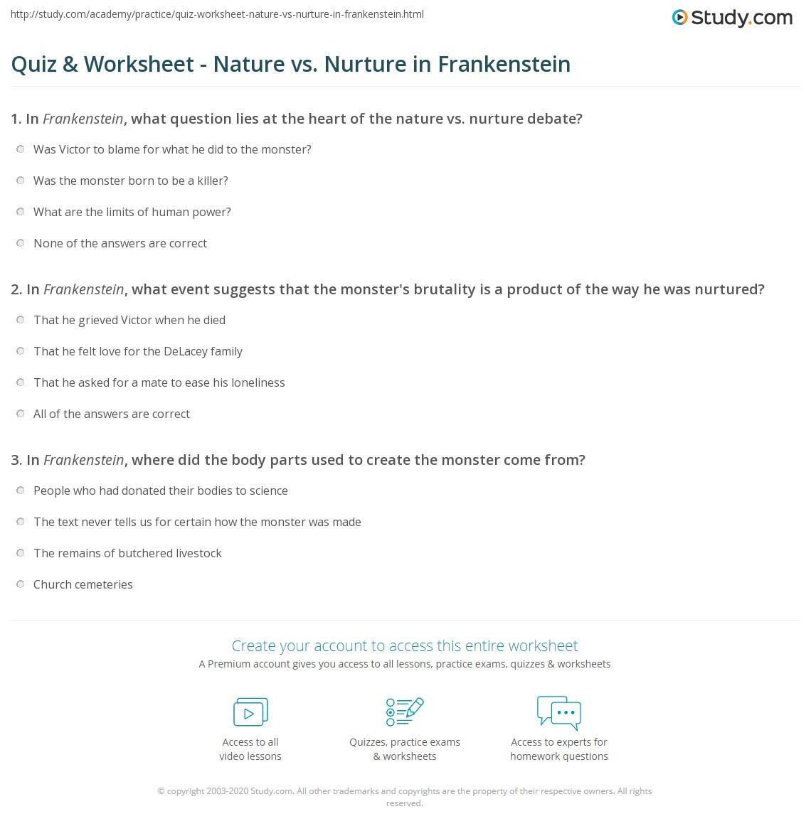 Frankenstein Essay Nature Vs Nurture
