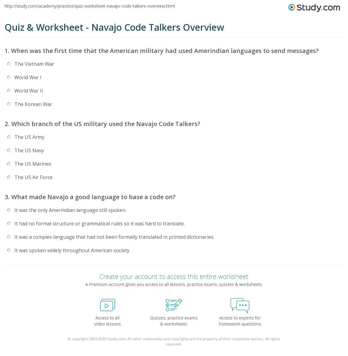 quiz worksheet navajo code talkers overview study com rh study com
