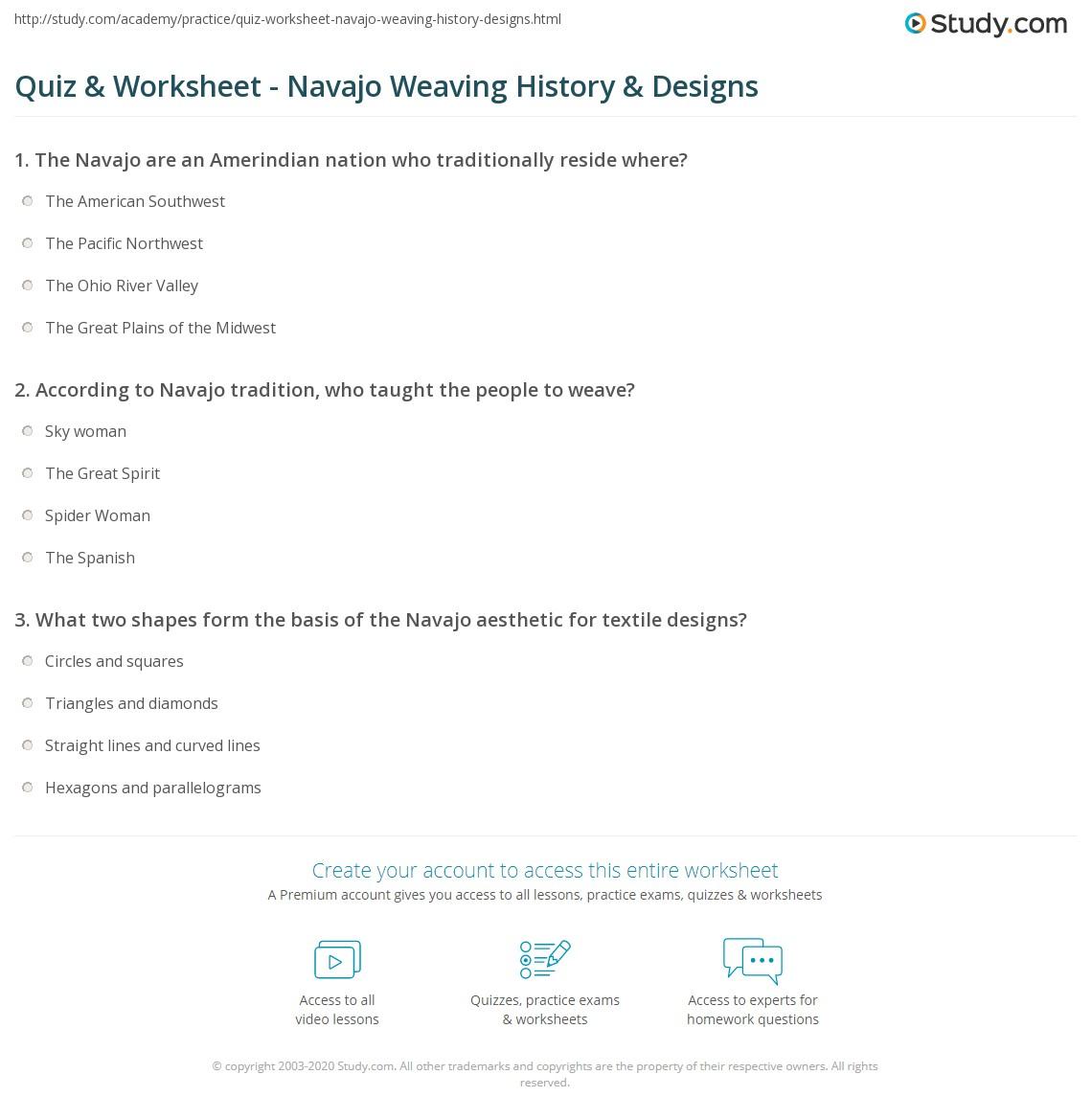 Quiz Worksheet Navajo Weaving History Designs Study