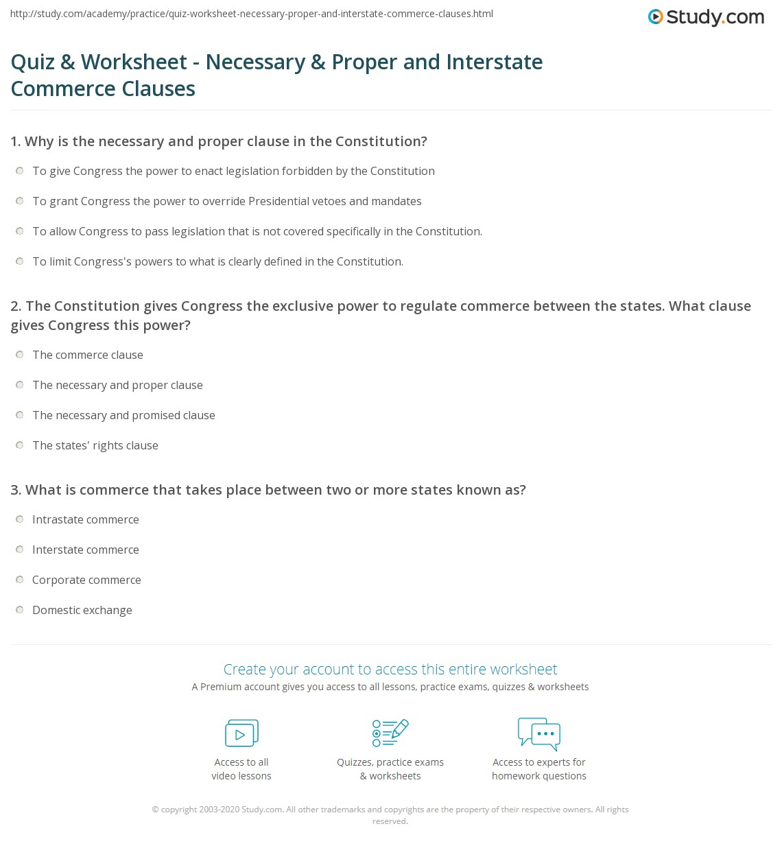 quiz & worksheet - necessary & proper and interstate commerce