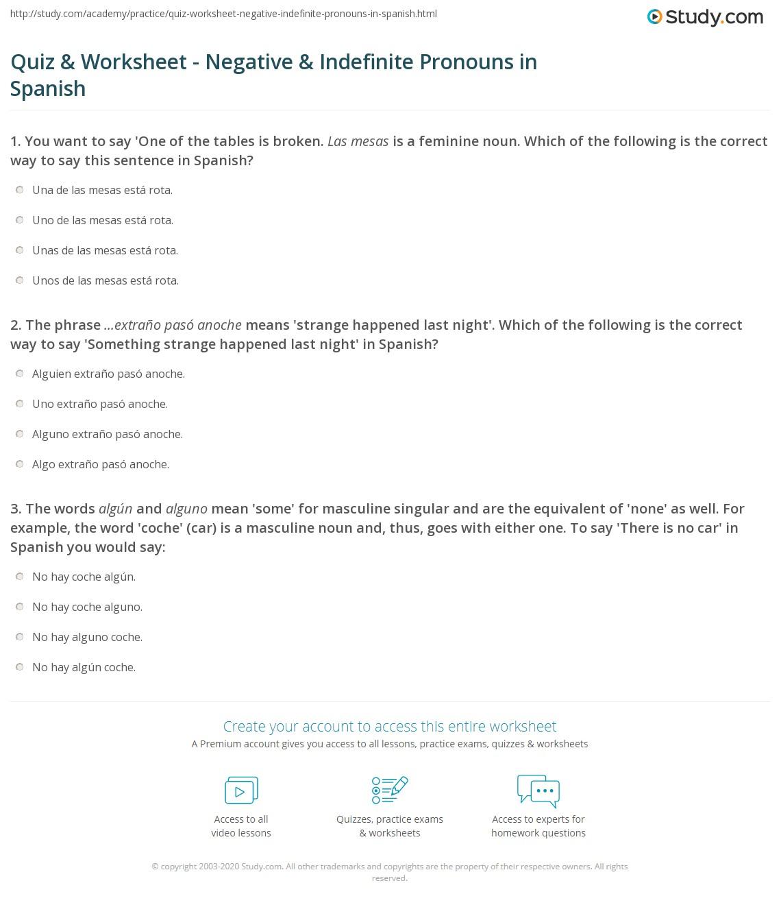 quiz worksheet negative indefinite pronouns in spanish. Black Bedroom Furniture Sets. Home Design Ideas