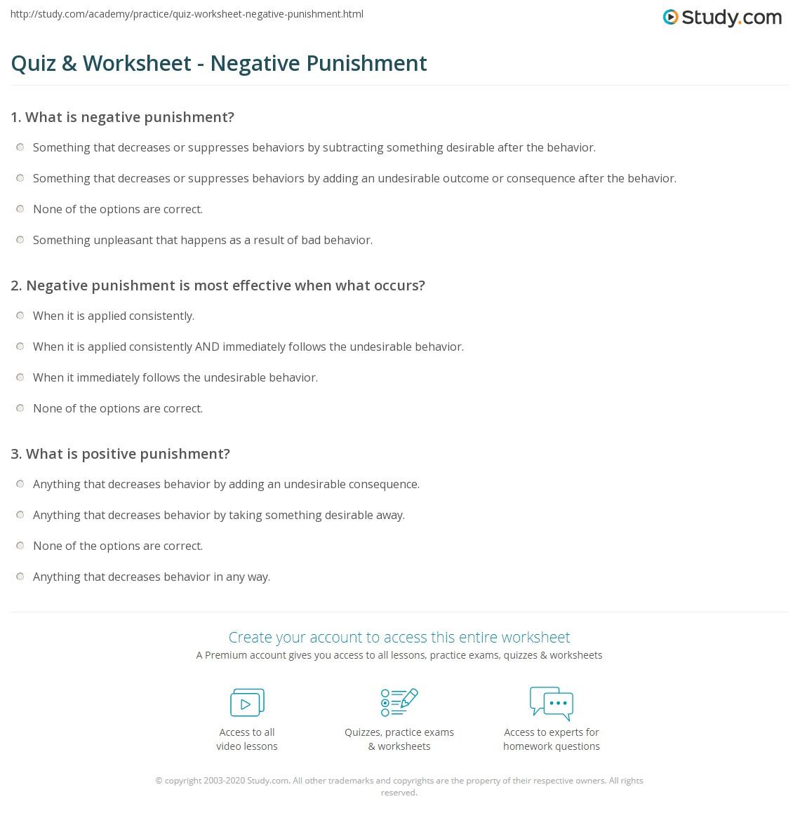 Quiz Worksheet Negative Punishment Study
