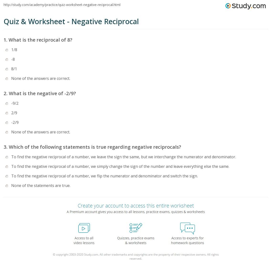 Quiz Worksheet Negative Reciprocal – Reciprocal Worksheet