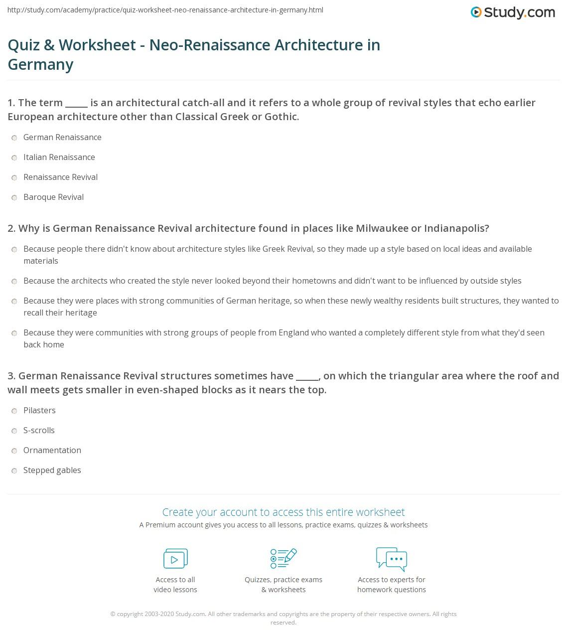 Quiz Worksheet Neo Renaissance Architecture In Germany