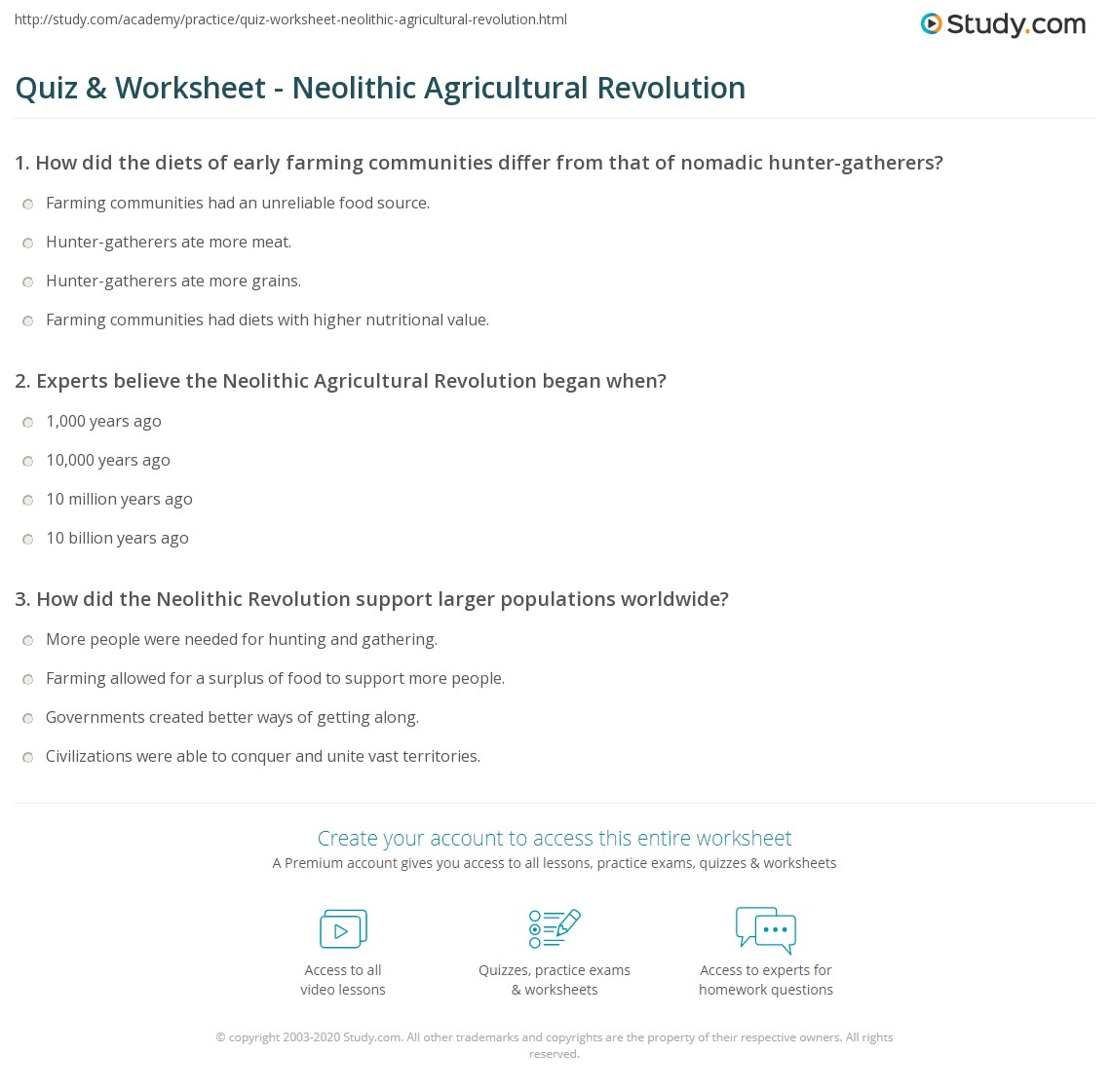 neolithic revolution worksheets switchconf quiz worksheet neolithic agricultural revolution study com