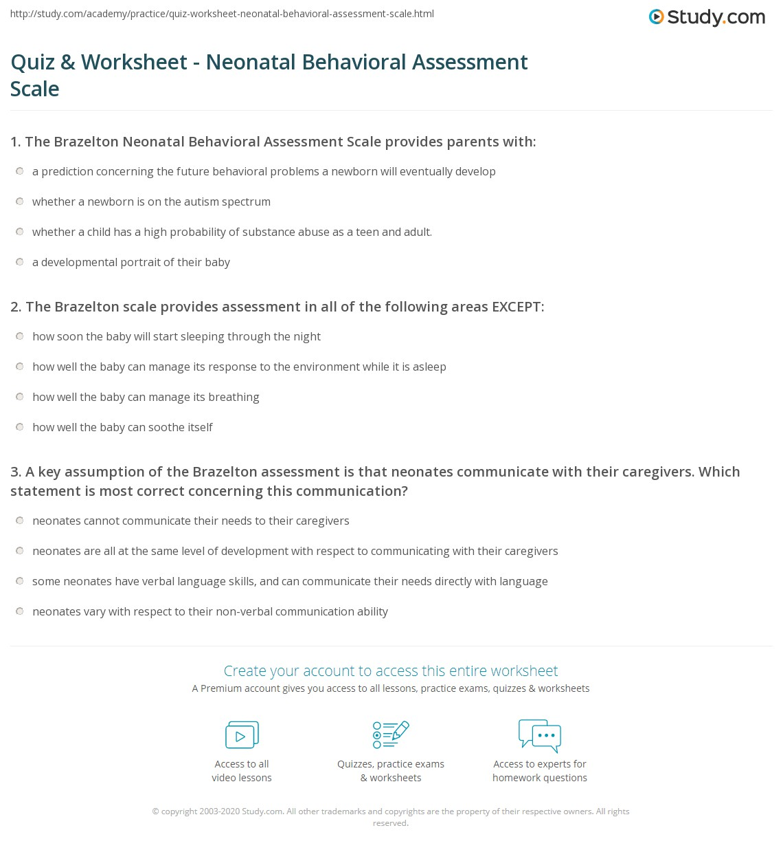 Quiz Worksheet Neonatal Behavioral Assessment Scale – Scale Worksheets