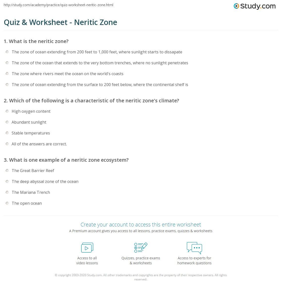 Quiz Worksheet Neritic Zone – Ocean Zones Worksheet