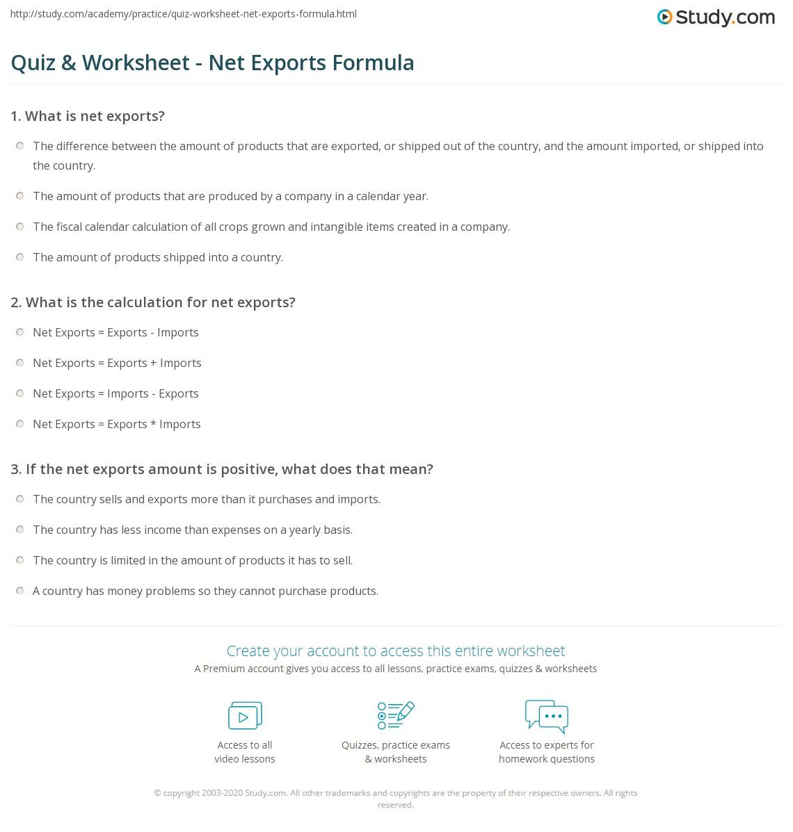 quiz amp worksheet net exports formula studycom